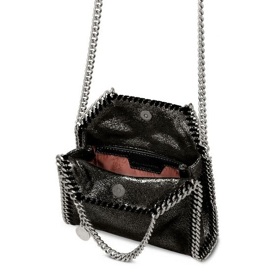 bc441328569f STELLA McCARTNEY Ruthenium Falabella Shiny Dotted Chamois Mini Tote  Falabella Mini Bags D e