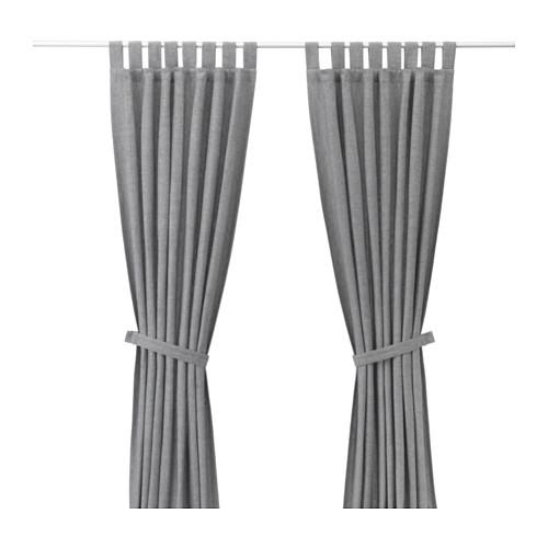 LENDA Gardiner med omtag, 1 par, grå | Blickdichte gardinen