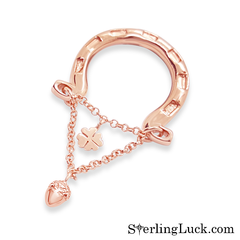 Triply charmed horseshoe ring lucky charm stylish and ring