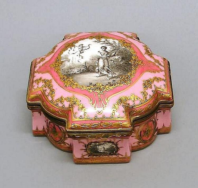 "Sevres Pink Ground Vanity Box 18th century, reserves with grisaille scenes, interior with painted floral sprays, 3""""t., 5 1/2""""w. Ship: $23 plus insurance."
