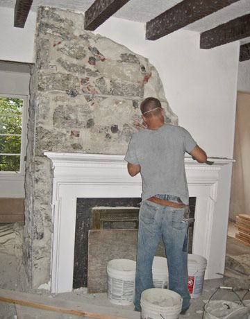 Stone chimney and Stone fireplaces