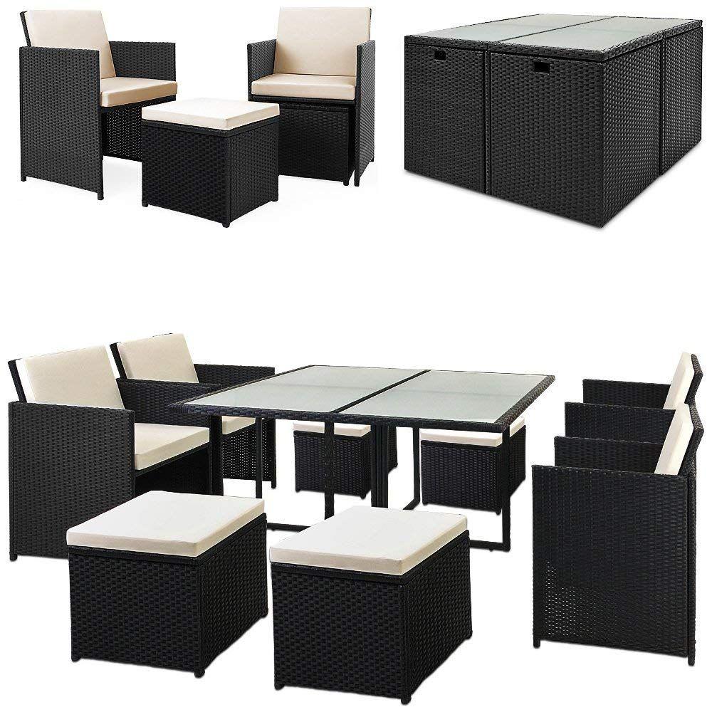 Deuba Poly Rattan Sitzgarnitur 8 1 Cube Design 7cm Dicke Auflagen In Creme Klappbare Ruckenlehne Platzsparen Gartenmobel Rattan Gartenmobel Aussenmobel