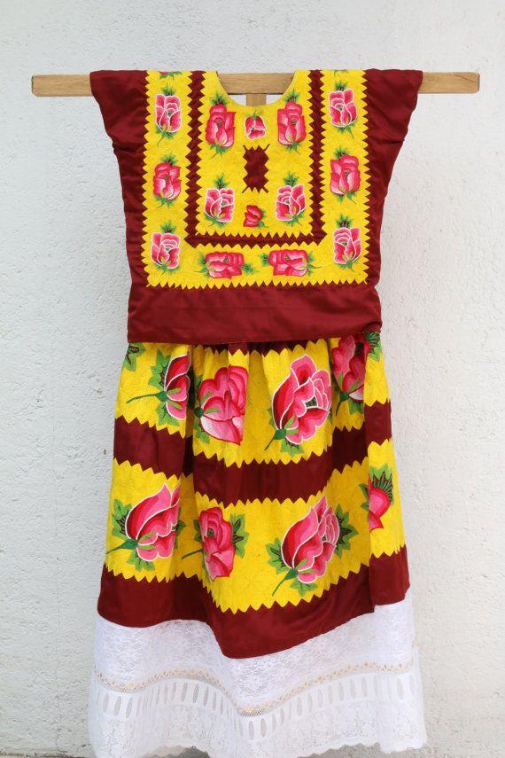 Vestido de tehuana estilo antiguo, estilo Frida Kahlo Traje regional ...