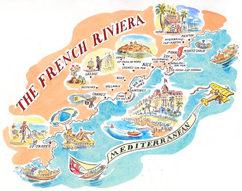 Map Of France French Riviera.Paul Cox Map Of The French Riviera Belle France In 2019 French