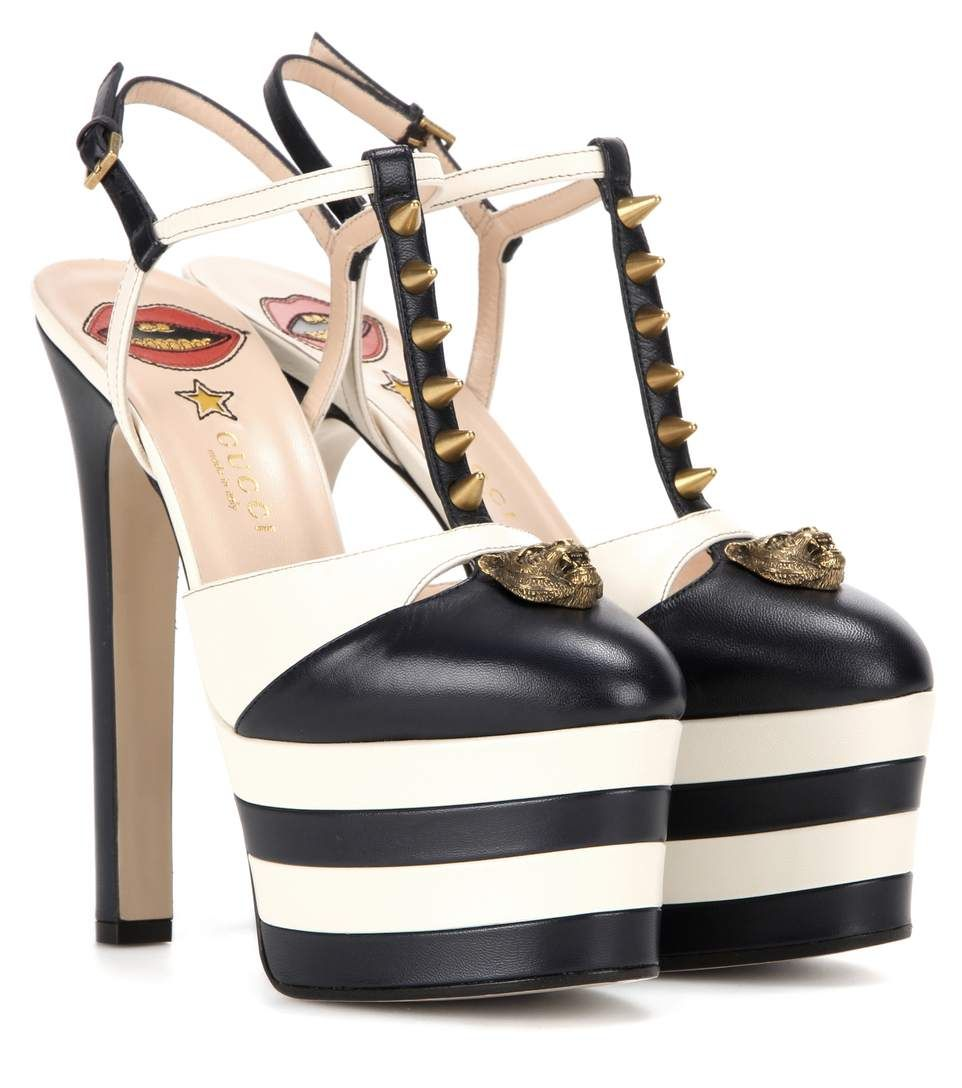 3bb0b4ec206 GUCCI Embellished Leather Platform Pumps.  gucci  shoes  pumps ...