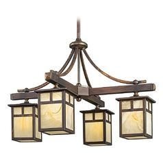 Kichler chandelier with beige cream glass in canyon view finish craftsman aloadofball Gallery