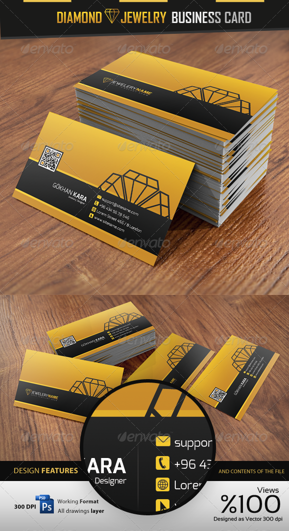 Diamond jewelry business card business cards business card psd diamond jewelry business card reheart Image collections