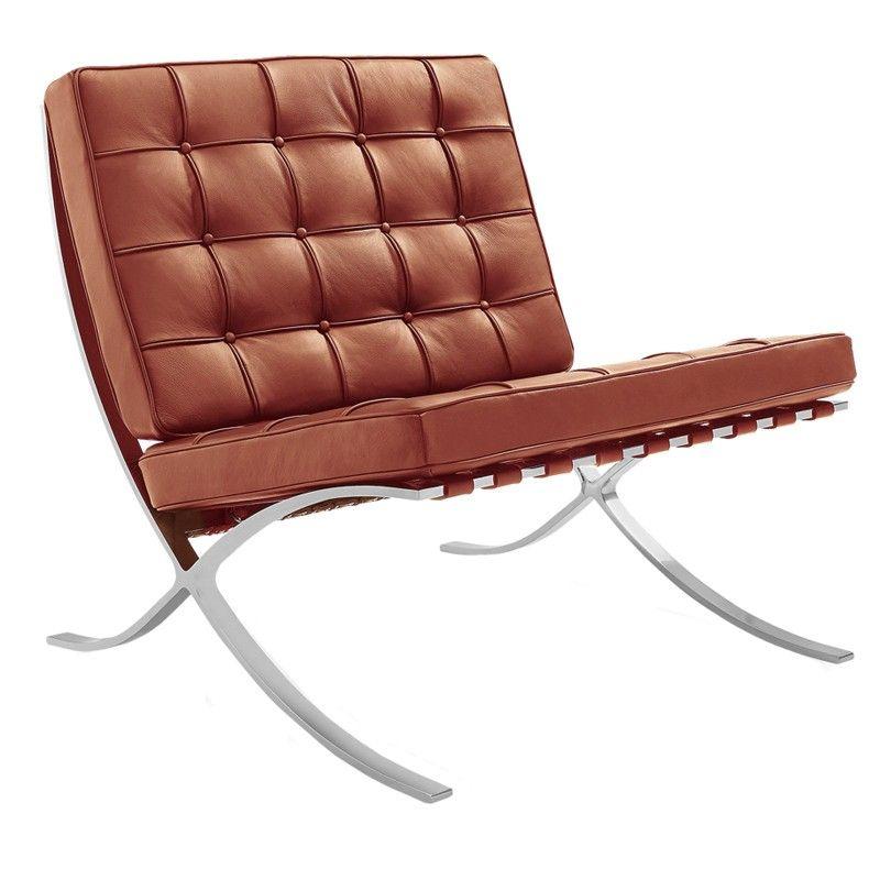 Barcelona Chair Premium Leer Cognac Ludwig Mies Van Der Rohe Barcelona Stoel Fauteuil Fauteuil Zwart Leer
