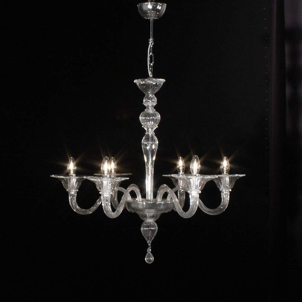 Milano lampadario in vetro di Murano 6 luci cristallo