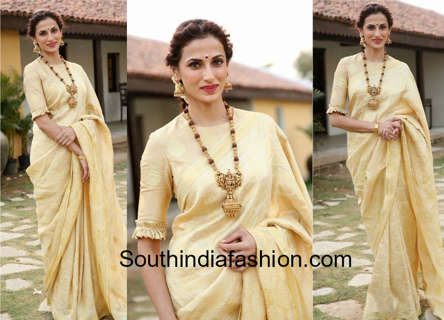Shilpa Reddy in a gold saree | Blouse designs | Blouse