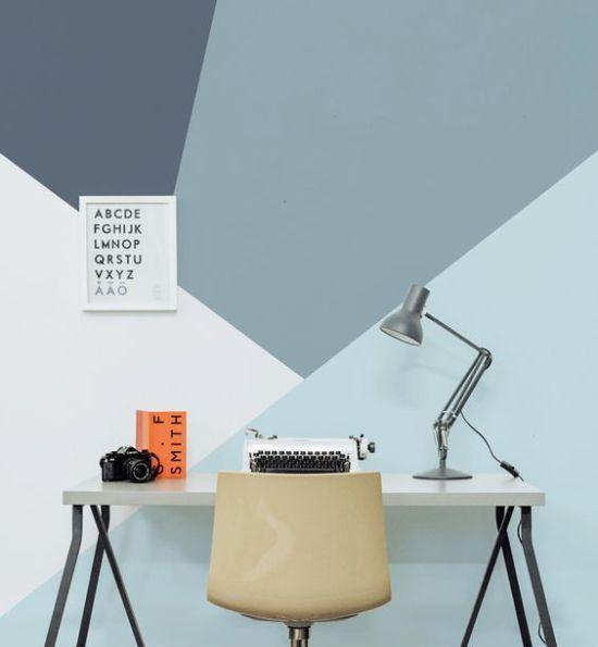 daphnedecordesign_la peinture graphique pour sublimer vos murs bleu - peinture chambre gris et bleu