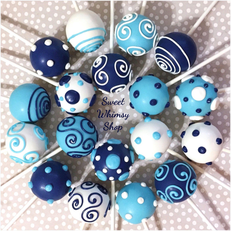 12 Navy Light Blue Amp White Cake Pops For By