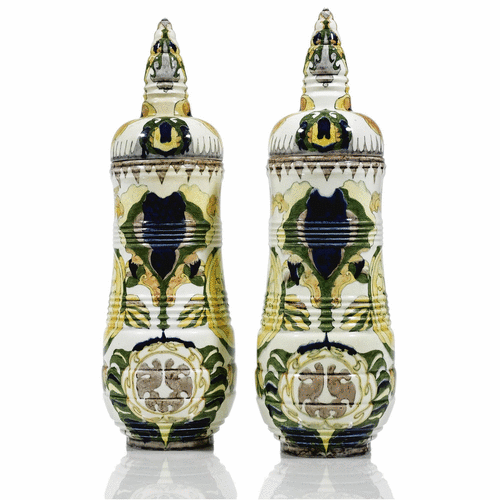 A pair of Rozenburg 'Pagoda' covered vases designed by Theodoor Colenbrander<br>1886 | Lot | Sotheby's