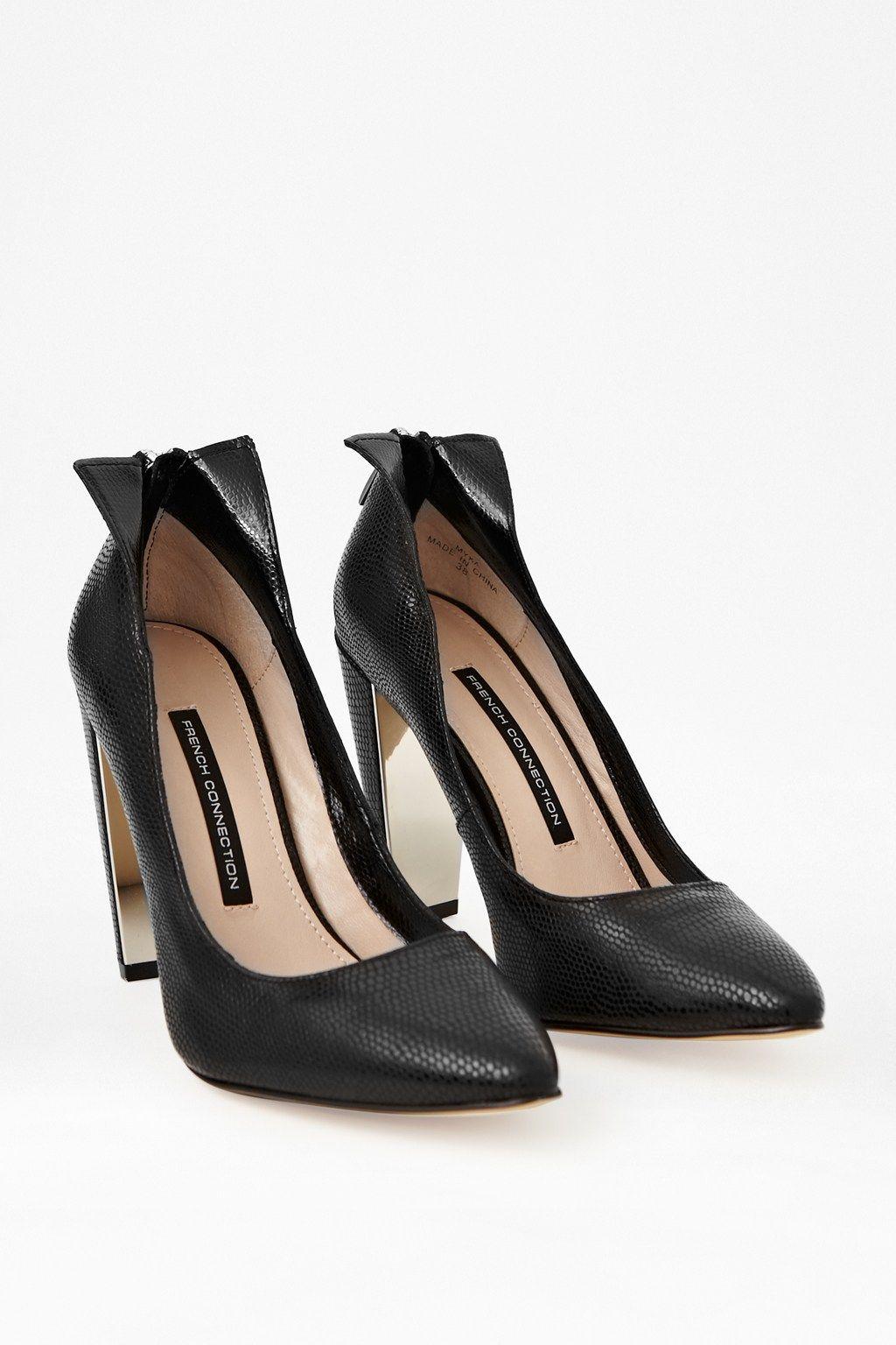 Myka Zipped Leather Court Heels - Sale