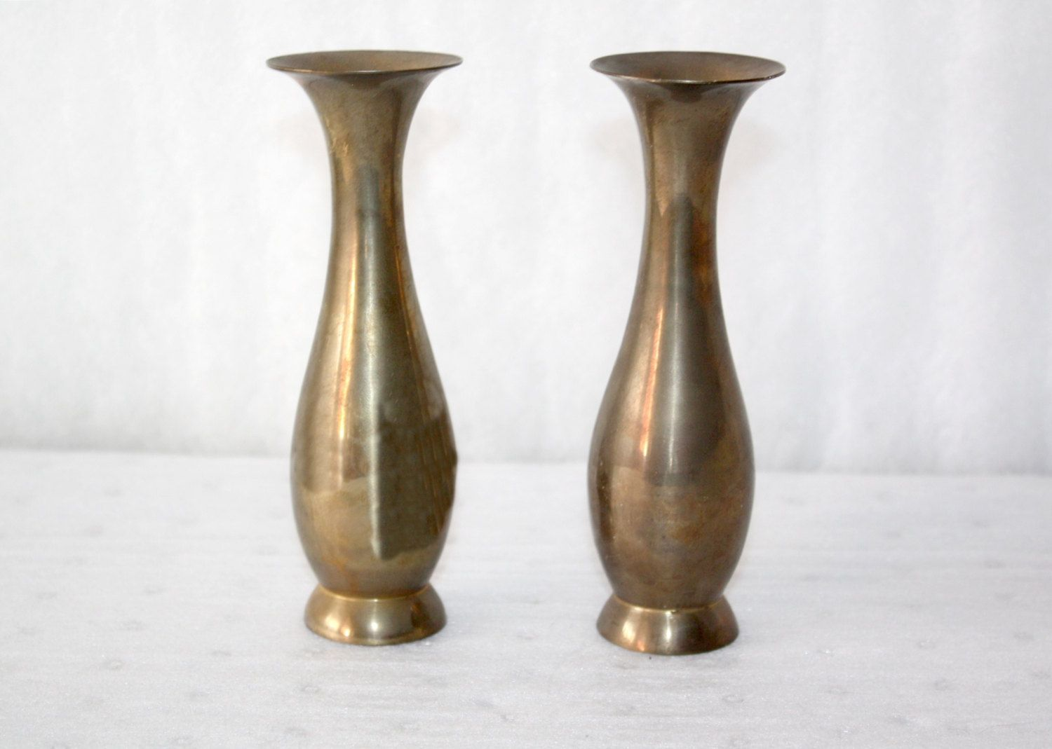 Vintage Pair of Solid Brass Vases Hand Made in India No Damage