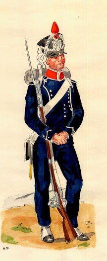 Chasseur d'infanterie légère, 1813, ancienne tenue