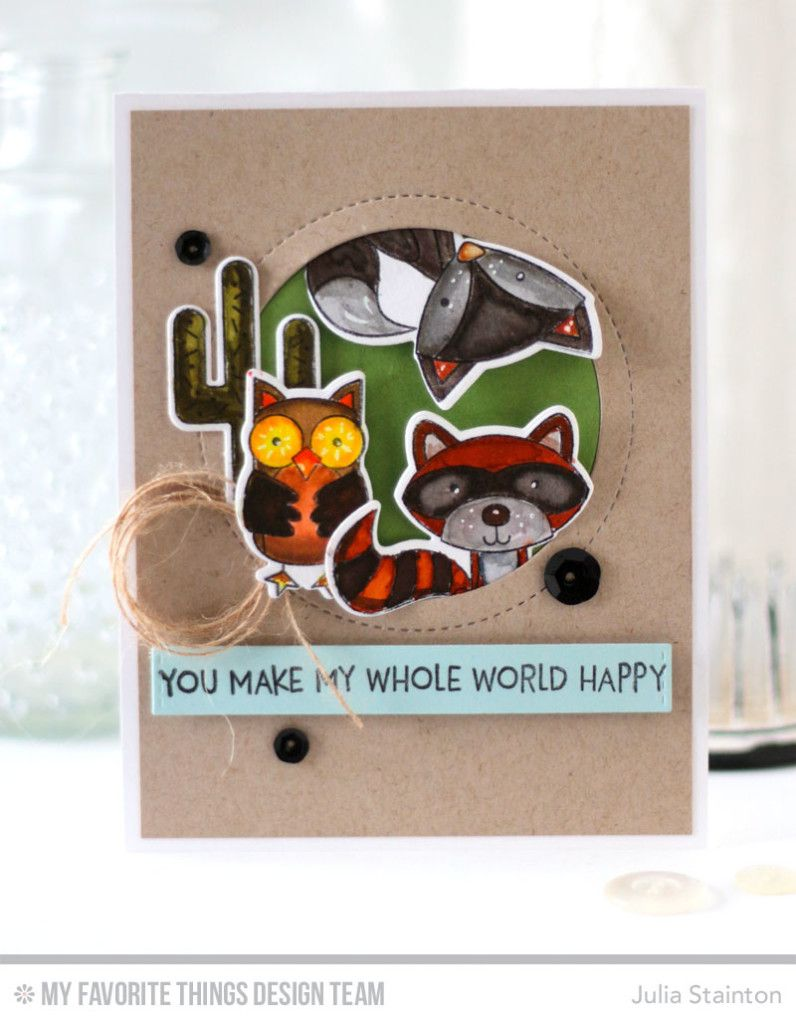 Critter Clan Watercolor Card by Julia Stainton featuring MFT Stamps