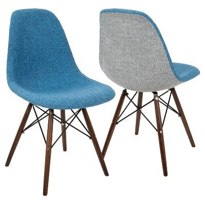 Brady Duo Mid   Century Modern Dining/Accent Chair   Gray/Blue (Set Of 2)    Lumisource