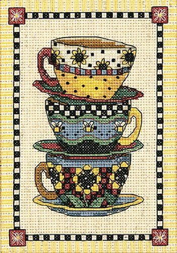 Dimensions Counted X Stitch Stacked Tea Cups