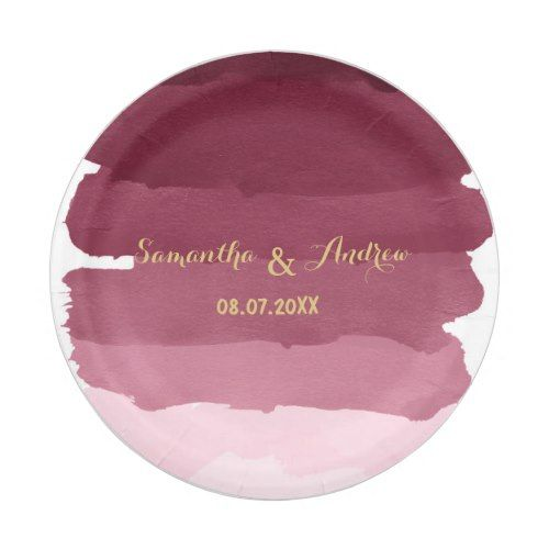gold burgundy watercolor ombre stripes wedding paper plate  sc 1 st  Pinterest & Gold burgundy watercolor ombre stripes wedding paper plate | Wedding ...