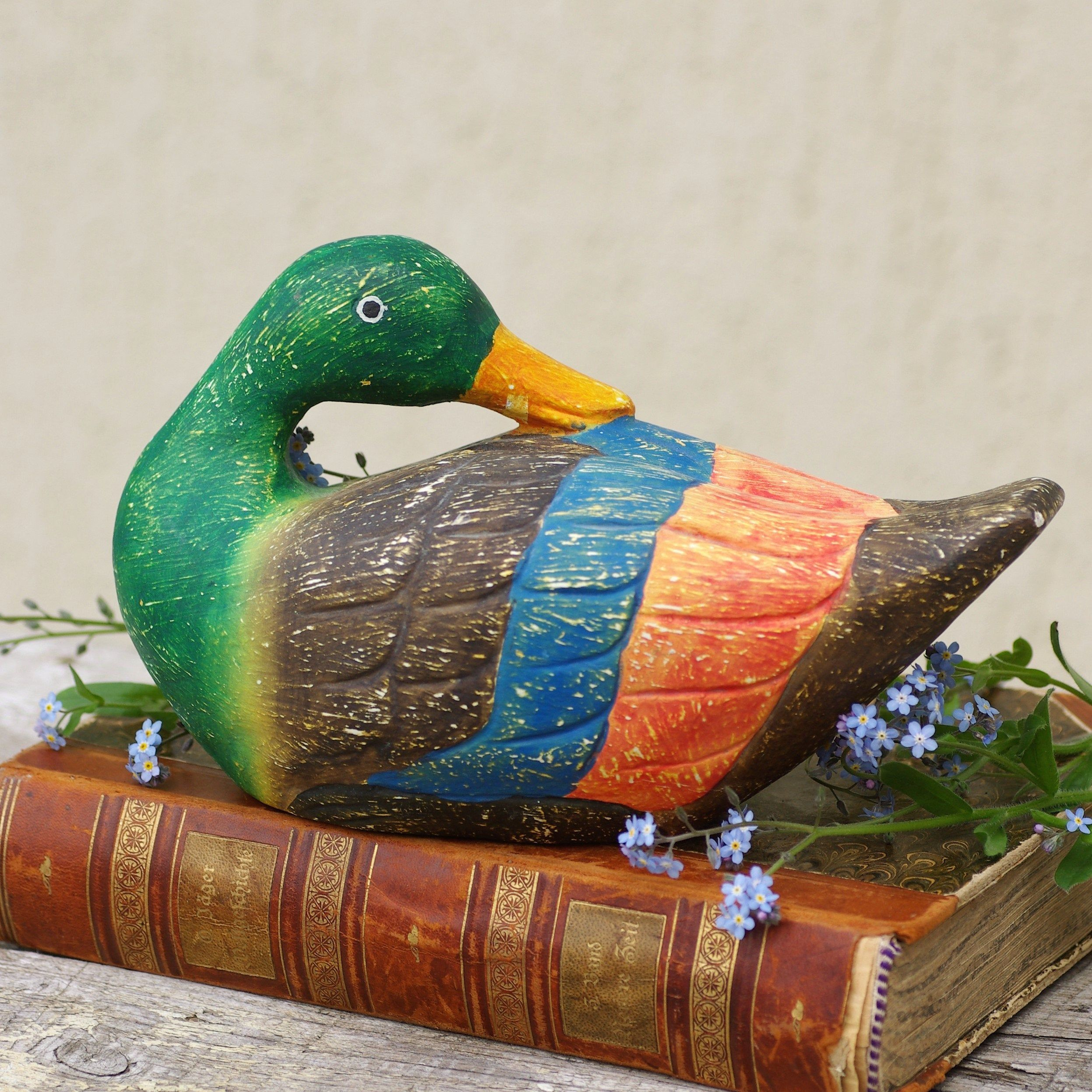 Wood Duck Carving Wooden Duck Decoy Hand Carved Bird Vintage Statue Sculpture Handcarved From Sweden Woodland Vintage Statues Wood Ducks Duck Decoys