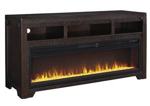 Rogness Dark Brown Large Tv Stand W Fireplace Category