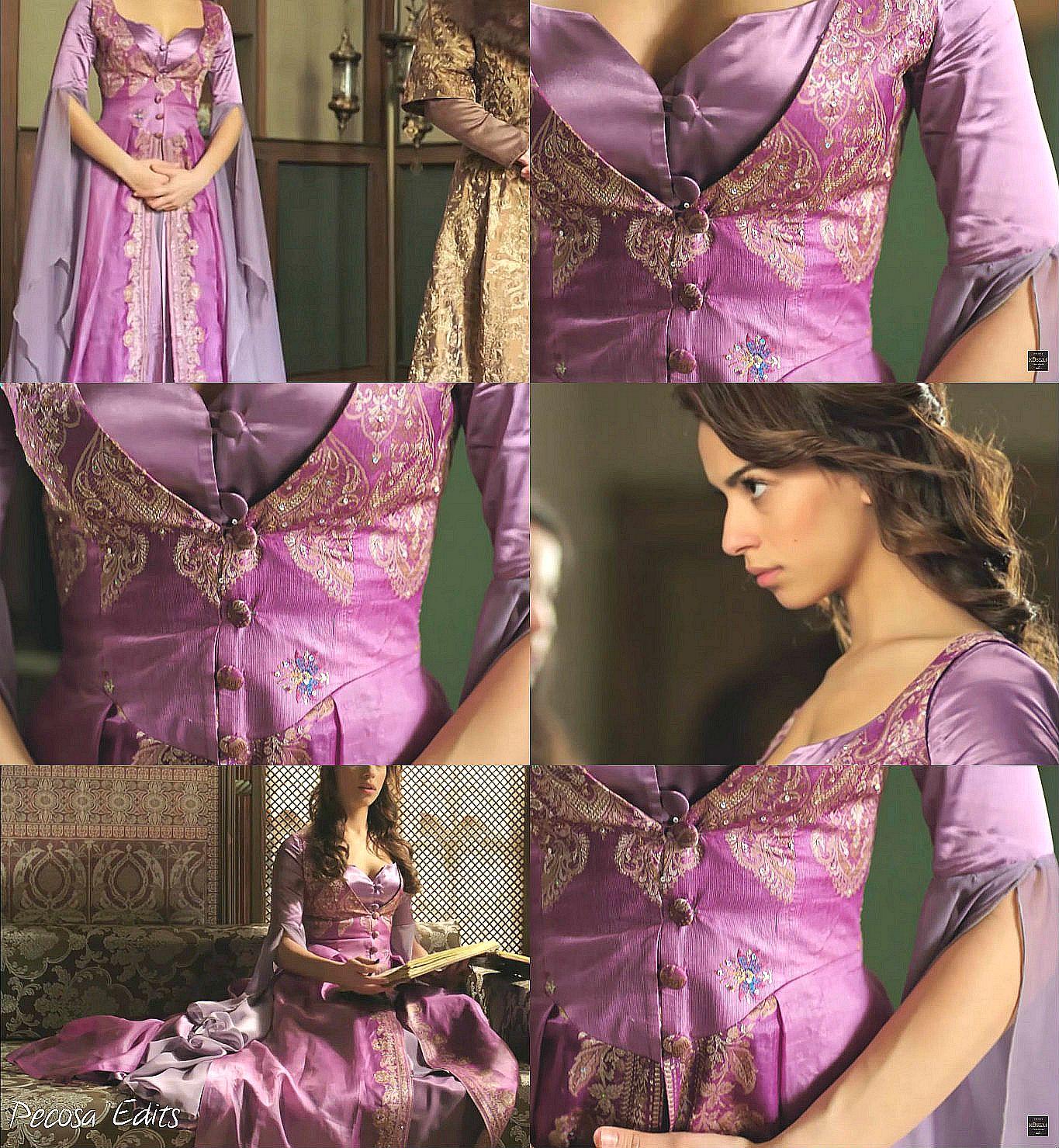 muhtesem yuzyil kosem, magnificent century kosem, Yasemin hatun, purple.pink dress