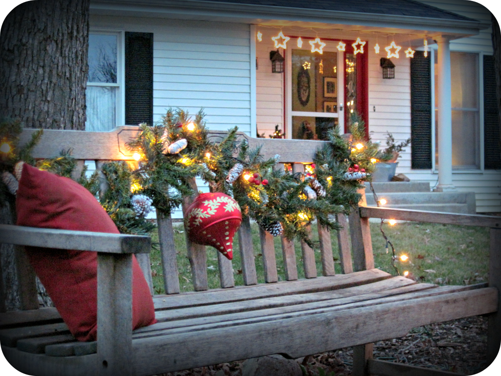 my christmas porch and entry decorations | bench, decoration and