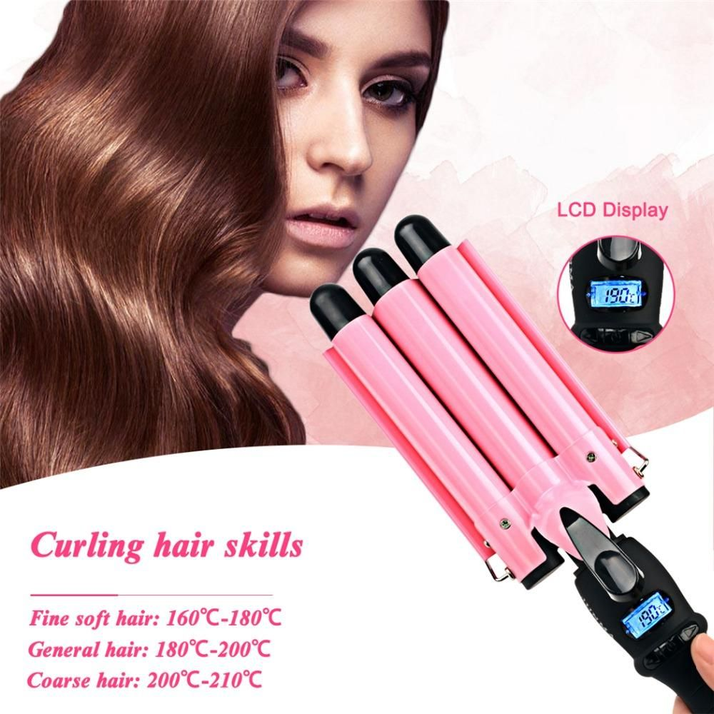 Visit to Buy] CkeyiN LCD Digital Hair Curling Iron+Glove Automatic ...