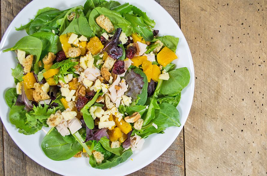 Butternut Squash Salad with Turkey, Aged Cheddar and Red Apple Balsamic