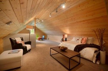 Simple Attic Room With Wood Strips For Ceiling Attic Flooring Attic Remodel Attic Design