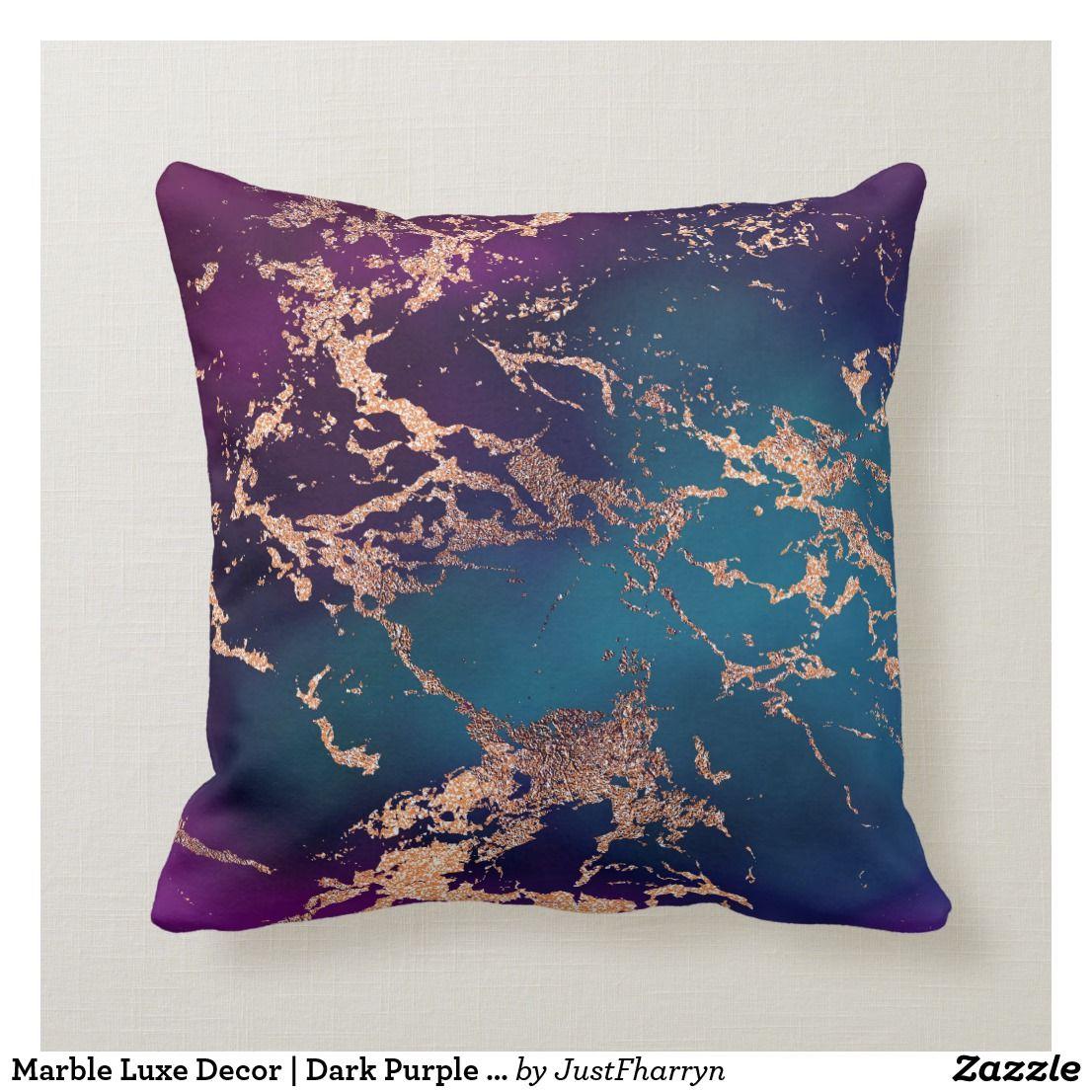 Moody Marble Decor | Luxe Deep Purple Teal Gold Throw Pillow | Zazzle.com -   16 room decor Purple blue ideas