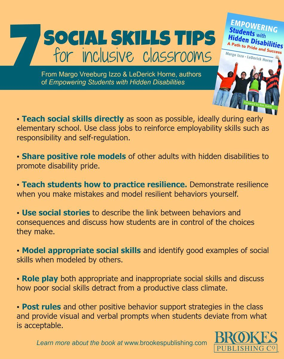 Tips for social skills in inclusive classrooms, from this