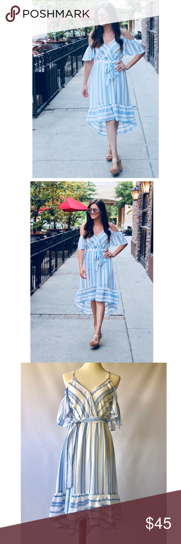 9307cb5b6a8d Blue and White Cold Shoulder Hi Lo Dress Adorable light blue and ivory  striped cold shoulder dress with ruffled Hi-Lo hem. Shoulder straps are  adjustable ...