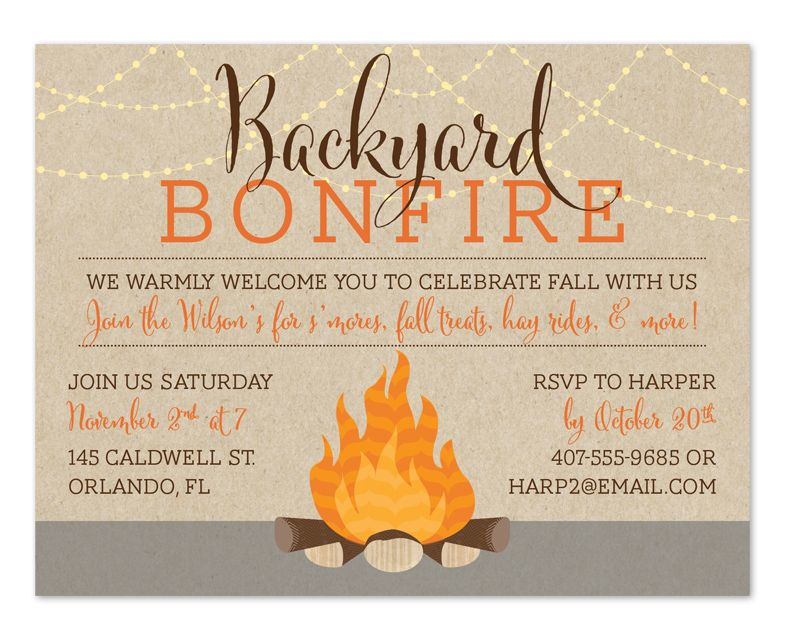 Backyard Bonfire Bonfires, Party invitations and Backyard - fresh birthday invitation of my son