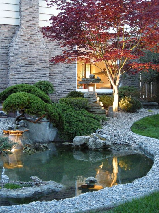 I want a small pond in my front yard so pretty for Garden pond design