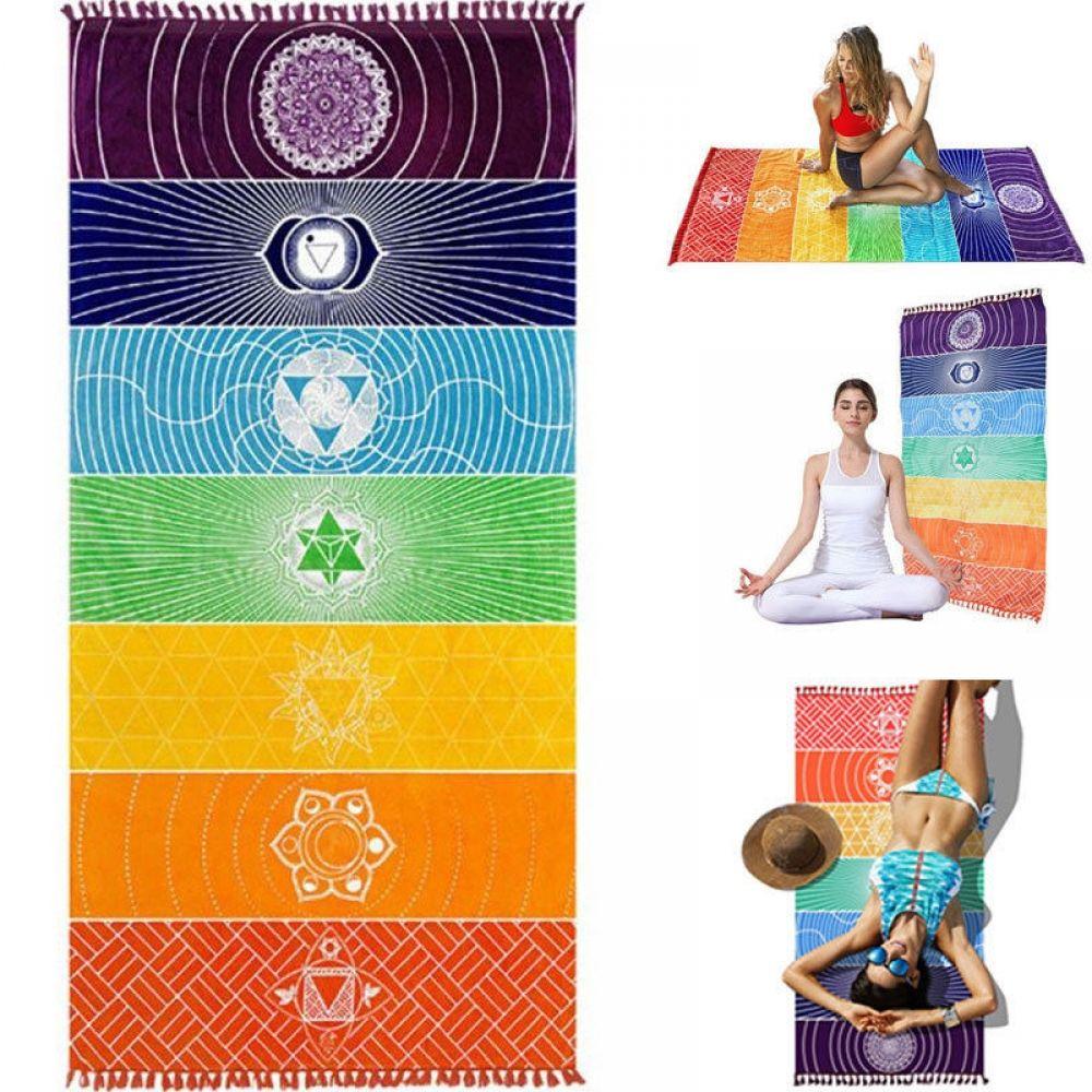 Multipurpose Rainbow Mandala Towel For Meditation Yoga Beach