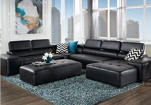 For A Lozano Black 5 Pc Sectional Living Room At Rooms To Go Find Leather Sectionals That Will Look Great In Your Home And Complement The Rest Of