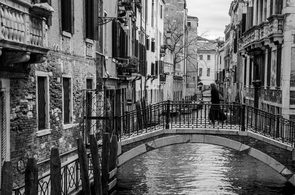 Beautiful italy black and white photography venice in black