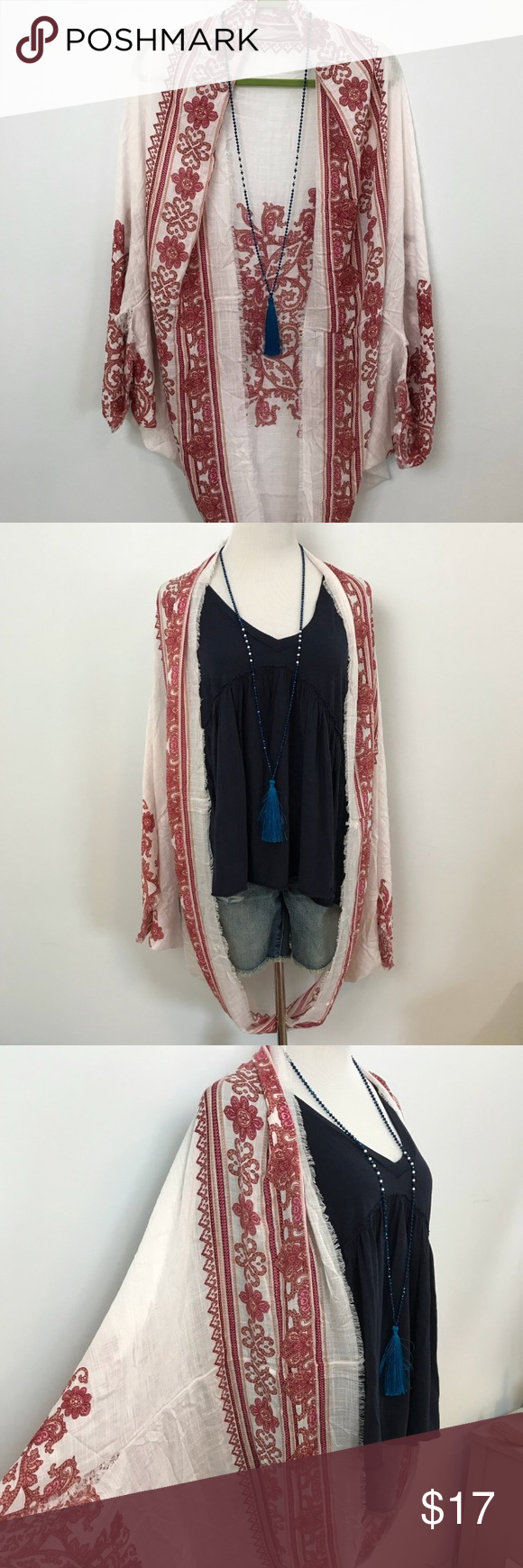 AEO Cocoon Kimono Festival Shrug Red White American Eagle Outfitters  Cocoon Kimono Festival Shrug Red White. Raw edge and a Gypsy feeling to it. Vacation must have, easy to pack and throw on in a moments notice and fold away. Great for beach honeymoon, warm on the plane or sailboat and a Coachella MUST. NWOT. Last pic is outfit inspo. American Eagle Outfitters Accessories Scarves & Wraps #beachhoneymoonclothes AEO Cocoon Kimono Festival Shrug Red White American Eagle Outfitters  Cocoon Kimono F #beachhoneymoonclothes