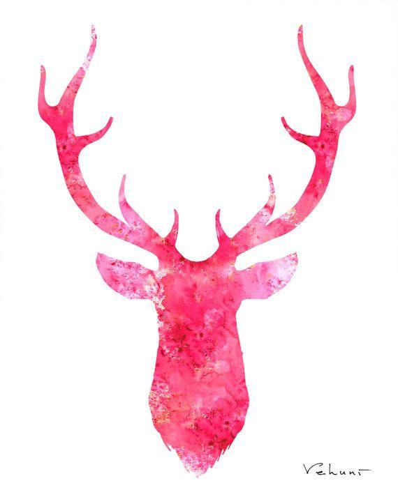 Pink Deer Head Archival Print from Original by FluidDiamondArt ...
