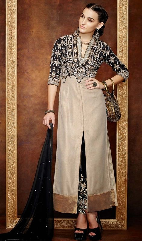 Own your day with acclamation by donning this black and brown color Banarasi silk georgette pant style suit. The amazing attire creates a dramatic canvas with terrific lace, stones and resham work. #straightpalazzodress #lateststraightcutdresses #straightpantstylesuit