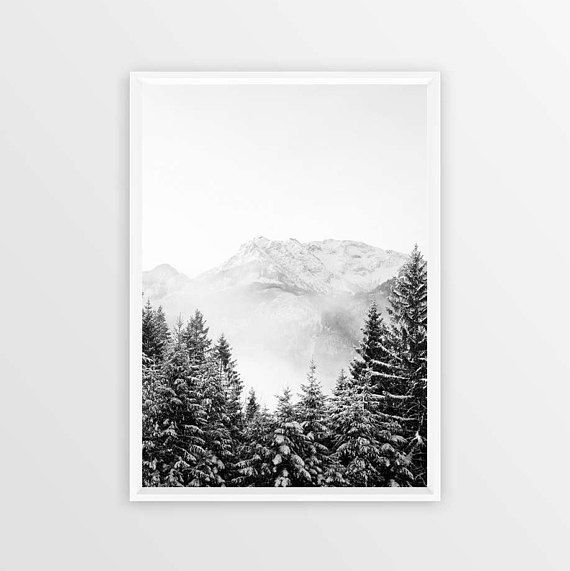 Black and white mountain poster art instant download modern nordic print printable mountain scandinavian modern rocky mountain art prints