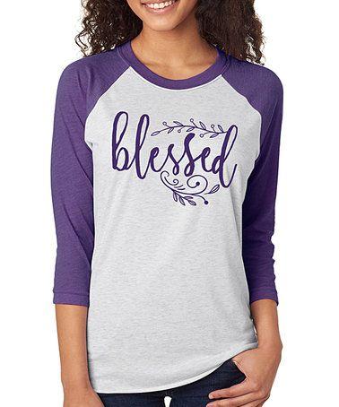 Look what I found on #zulily! Heather Purple 'Blessed' Raglan Tee - Plus #zulilyfinds