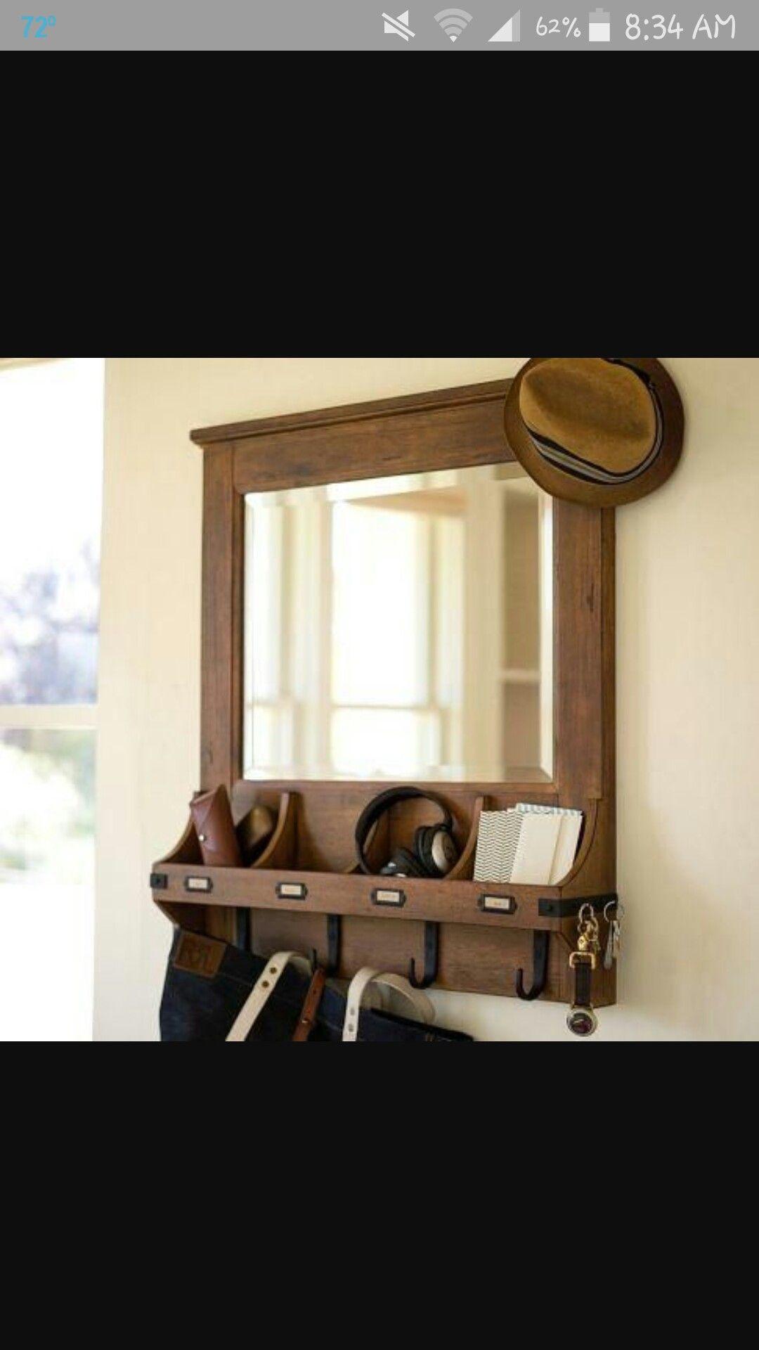 Entryway Key Holder Sunglasses Holder Wallet Holder Idea Entryway Mirror With Hooks Entryway Organization Entryway Mirror