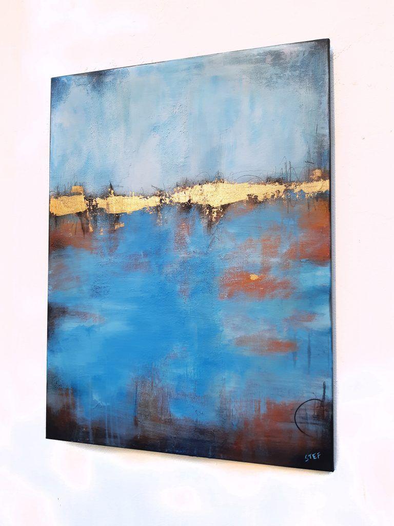 goldener horizont 4 bild abstrakt in blau gold atelier stefanie rogge seelandschaft gemalde abstrakte malerei acrylbilder schwarz weiß ölgemälde kaufen