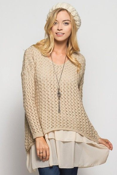 Layered Tunic Sweater Taupe | {Fall Arrivals 2016} | Pinterest ...