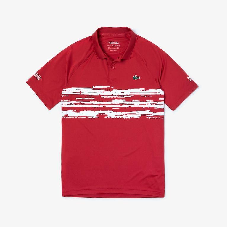 Men S Sport Novak Djokovic Stretch Print Jersey Polo In 2020 Mens Polo T Shirts Lacoste Polo