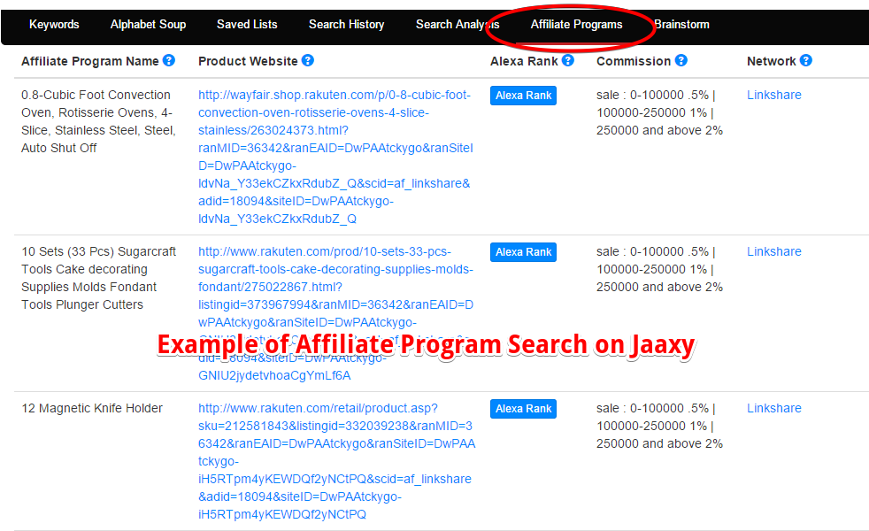 How to search for affiliate programs using Jaaxy Keyword Tool