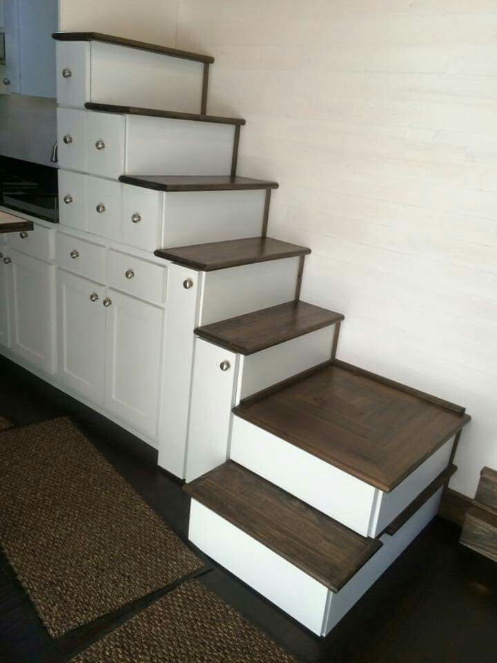 tiny house stairs with tons of storage space. Black Bedroom Furniture Sets. Home Design Ideas
